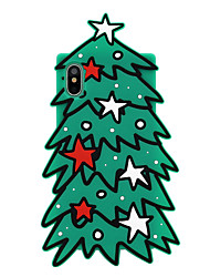 cheap -Case For Apple iPhone X Pattern Back Cover Cartoon / Tree / Christmas Soft Silicone