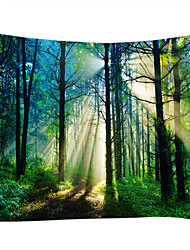 cheap -Wall Tapestry Art Decor Blanket Curtain Picnic Tablecloth Hanging Home Bedroom Living Room Dorm Decoration Misty Forest Nature Landscape Sunshine Through Tree