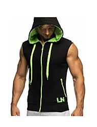 cheap -Men's Solid Colored Basic Slim Hoodies & Sweatshirts Active Daily Sports Hooded White / Red / Green / Light gray / Dark Gray / Summer / Sleeveless