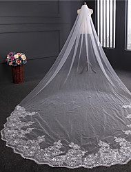 cheap -One-tier Vintage Style Wedding Veil Cathedral Veils with Paillette Tulle / Classic