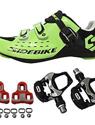abordables -SIDEBIKE Adulte Chaussures Velo avec Pédale & Fixation Chaussures Vélo Route Nylon Respirable Coussin Cyclisme Noir Rouge Vert Homme Chaussures Vélo / Chaussures de Cyclisme / Grille respirante