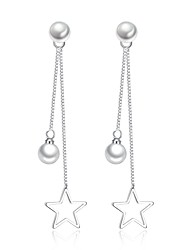 cheap -Women's Cubic Zirconia Drop Earrings Long Ladies Basic Fashion Imitation Pearl Earrings Jewelry Silver For Daily Ceremony