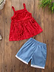 Недорогие -Дети (1-4 лет) Девочки На каждый день Повседневные На выход Однотонный Стильные Чистый цвет Джинса Без рукавов Обычный Обычная Хлопок Набор одежды Красный / Очаровательный