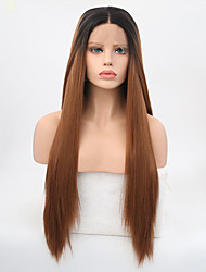 cheap -Synthetic Lace Front Wig Straight Straight Lace Front Wig Long Ombre Black / Medium Auburn Synthetic Hair Women's Natural Hairline Brown