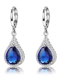 cheap -Women's Cubic Zirconia High End Crystal Drop Earrings Hanging Earrings Drop Vintage Fashion Elegant Zircon Silver Plated Earrings Jewelry Dark Blue For Party Gift