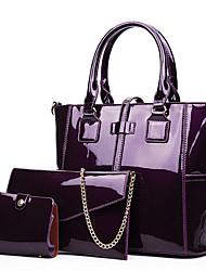 cheap -Women's Zipper Patent Leather Bag Set Bag Sets 3 Pcs Purse Set Black / Red / Purple