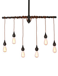 cheap -6-Light Rustic Industrial Black Metal Hanging Pendant Light Living Room Dining Room Cafe Bar Decoration Lighting Painted Finish
