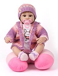 cheap -NPKCOLLECTION NPK DOLL Reborn Doll Girl Doll Baby Girl 18 inch Silicone Vinyl - Newborn lifelike Cute Hand Made Child Safe New Design Kid's Unisex / Girls' Toy Gift / Natural Skin Tone / Floppy Head