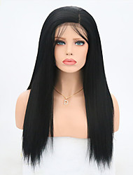 cheap -Synthetic Lace Front Wig Yaki Straight Yaki Straight Lace Front Wig Long Black#1B Synthetic Hair Women's Black