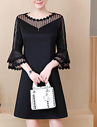 cheap -Women's Plus Size Black Dress Street chic Spring Party Work Shift Color Block Black Lace L XL
