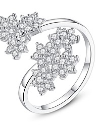 cheap -Women's Open Cuff Ring wrap ring Cubic Zirconia tiny diamond Silver Zircon Copper Ladies Vintage Fashion Wedding Gift Jewelry Leaf