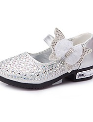 cheap -Girls' Comfort / Flower Girl Shoes Leatherette Heels Little Kids(4-7ys) / Big Kids(7years +) Rhinestone / Bowknot / Sparkling Glitter Pink / Gold / Blue Spring / Fall / Wedding / Magic Tape