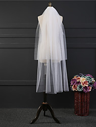 cheap -Two-tier Classic Wedding Veil Elbow Veils with Fringe Tulle
