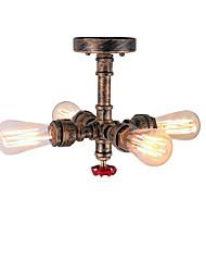 cheap -4-Light 4-Head Loft Retro Industrial Style Water Pipe Semi Flush Mount Light Finish Restaurant Cafe Bar Ceiling Lamp