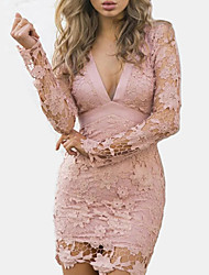 cheap -Women's Lace Going out Club Street chic Mini Slim Bodycon Sheath Dress - Solid Colored Dusty Rose, Lace Backless Cut Out High Waist V Neck Spring Cotton Black Blushing Pink M L XL / Super Sexy