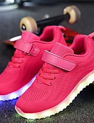 cheap -Boys / Girls USB Charging  LED / Comfort / LED Shoes Knit / Net Sneakers Little Kids(4-7ys) / Big Kids(7years +) Walking Shoes Lace-up / Hook & Loop / LED Black / Blue / Pink Spring / Fall