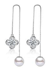 cheap -Women's Pearl Drop Earrings Long Clover Ladies Fashion Elegant Imitation Pearl Earrings Jewelry Silver / Purple For Daily Ceremony