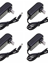 cheap -4pcs 120 cm 100-240 V US / EU / UK Plastic Power Supply / Power Adapter Black for LED Strip light