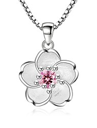 cheap -Women's Cubic Zirconia Pendant Necklace Flower Ladies Sweet Fashion Zircon Alloy Silver Necklace Jewelry For Party Daily