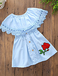 cheap -Toddler Girls' Casual Daily Going out Solid Colored Flower Ruffle Stylish Sleeveless Dress Blue / Cotton / Cute / Lace up