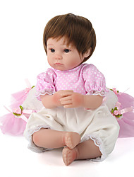 cheap -NPK DOLL Reborn Doll Baby Girl 18 inch Silicone Vinyl - Newborn lifelike Cute Hand Made Hand Applied Eyelashes Tipped and Sealed Nails Kid's Unisex Toy Gift / Natural Skin Tone / Floppy Head