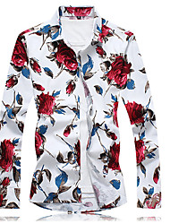 cheap -Men's Daily Chinoiserie Plus Size Cotton Shirt - Floral Blue / Long Sleeve