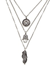cheap -Women's Pendant Necklace Layered Necklace Long Necklace Leaf Vintage Fashion Alloy Silver Hamsa Hand Necklace Jewelry 1pc For Gift Bikini