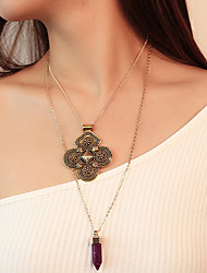 cheap -Women's Synthetic Amethyst Pendant Necklace Flower Statement Ladies Bohemian Ethnic Alloy Gold Silver Necklace Jewelry For Party Gift Ceremony Street