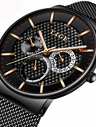 cheap -Men's Bracelet Watch Japanese Stainless Steel Black / Silver / Gold 30 m Water Resistant / Waterproof Calendar / date / day Chronograph Analog Luxury Casual - Black / Gold Black / White Black / Silver