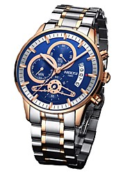 cheap -Men's Military Watch Japanese Stainless Steel Black / Silver / Rose Gold 30 m Water Resistant / Waterproof Chronograph Large Dial Analog Luxury Fashion - Blue Gold / Black Gold / White Two Years