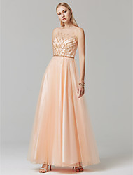 cheap -Ball Gown Pastel Colors Beaded & Sequin Holiday Cocktail Party Prom Dress Illusion Neck Sleeveless Floor Length Tulle with Beading 2020 / Formal Evening