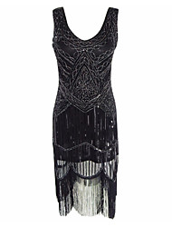 cheap -The Great Gatsby Charleston Vintage 1920s Roaring Twenties Flapper Dress Cocktail Dress Women's Sequins Tassel Costume Black Vintage Cosplay Party Homecoming Prom Sleeveless Knee Length