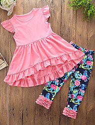 cheap -Toddler Girls' Casual Daily Going out Solid Colored Floral Ruffle Novelty Stylish Sleeveless Regular Regular Cotton Clothing Set Blushing Pink / Cute