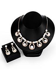 cheap -Women's Cubic Zirconia Jewelry Set Drop Earrings Drop Ladies Imitation Pearl Zircon Gold Plated Earrings Jewelry Gold For Wedding Evening Party