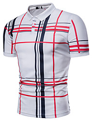 cheap -Men's Plus Size Striped Plaid Print Polo Basic Daily Shirt Collar White / Navy Blue / Gray / Summer / Short Sleeve
