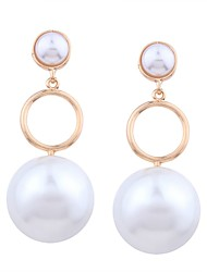cheap -Women's Pearl Drop Earrings Long Ball Ladies Sweet Fashion Imitation Pearl Gold Plated Earrings Jewelry Gold For Party Date