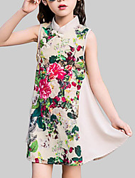 cheap -Kids Girls' Chinoiserie Daily Going out Floral Patchwork Patchwork Sleeveless Dress Beige