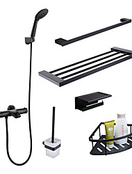 cheap -Faucet Set - Handshower Included / Thermostatic Black Wall Installation Two Handles Two HolesBath Taps