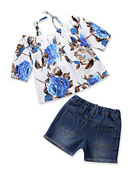 cheap -Toddler Girls' Casual Daily Going out Floral Print Cut Out Floral Printing Short Sleeve Regular Regular Cotton Clothing Set Blue / Ripped