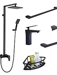 Недорогие -набор из 6 смесителей - тропический душ / ручной душ в комплекте черная однорычажная раковина для ванны смеситель для полотенец / кольцо для полотенца / крючок / полка для ванной