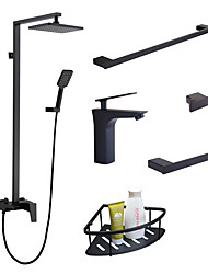 cheap -Faucet Set 6-piece- Rain Shower/ Handshower Included Black  Single Handle Bath sink Tap Towel bar/towel ring/hook/bathroom shelf