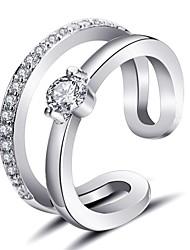 Недорогие -Жен. манжета кольцо Кольцо на кончик пальца обернуть кольцо Бриллиант Цирконий крошечный бриллиант Золотой Серебряный Циркон Медь Круглый Дамы корейский Мода Повседневные Офис и карьера Бижутерия