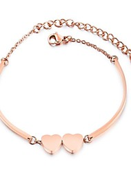cheap -Women's Charm Bracelet Heart Ladies Cartoon Steel Stainless Bracelet Jewelry Rose Gold For Ceremony New Year