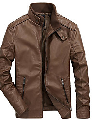 cheap -Men's Daily Spring Regular Leather Jacket, Solid Colored Stand Long Sleeve PU Brown / Black