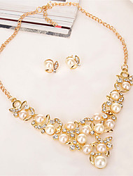 cheap -Women's Jewelry Set Floral / Botanicals Leaf Flower Ladies Fashion Pearl Crystal Gold Plated Earrings Jewelry Gold For Wedding Party Prom