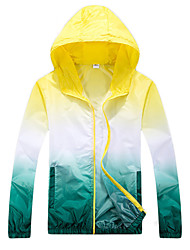 cheap -Men's Women's Hiking Skin Jacket Hiking Jacket Hiking Windbreaker Outdoor Waterproof Windproof Sunscreen UV Resistant Hoodie Ultraviolet Resistant Jacket Top Camping / Hiking Hunting Fishing Orange