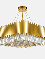 cheap -12 Bulbs 60 cm Square Eye Protection Chandelier Gold Pendant Light Crystal Crystal Electroplated Chic & Modern 110-120V 220-240V