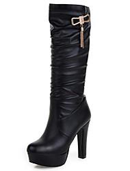 cheap -Women's Boots Stiletto Heel Pointed Toe Rivet PU(Polyurethane) Mid-Calf Boots Comfort / Novelty Spring / Fall White / Black / Beige / EU42