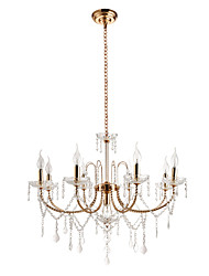 cheap -Lightinthebox 9-Light Candle-style Chandelier / Chandeliers Uplight / Ambient Light Electroplated Others Metal Crystal, Candle Style 110-120V / 220-240V Bulb Not Included / E12 / E14
