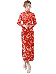 cheap -Bride Dress Party Costume Pencil Dress A-Line Dress Women's Uniforms & Cheongsams Chinese Style Wasp-Waisted Festival / Holiday Cotton Fuschia / Red Carnival Costumes Floral / Botanical